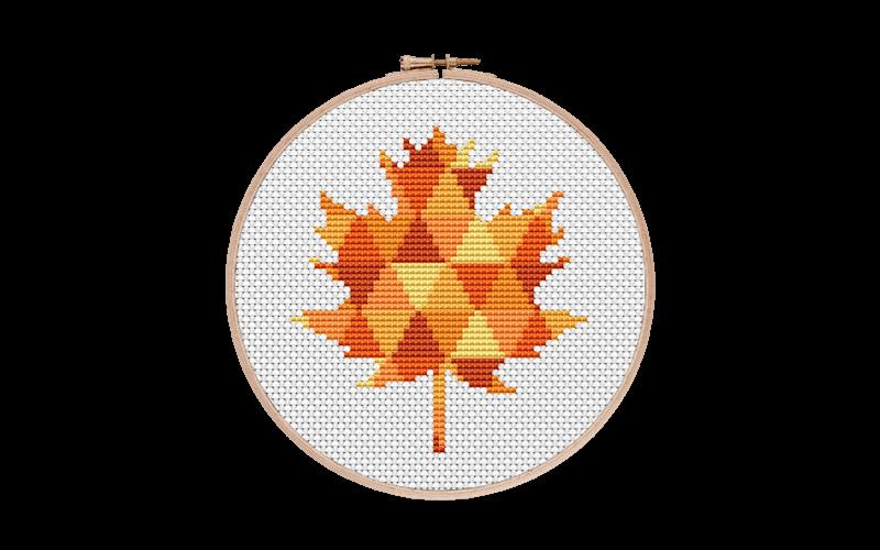 Geometric Maple Leaf Cross Stitch Pattern