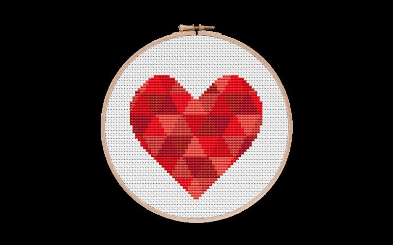 Geometric Heart Cross Stitch Pattern
