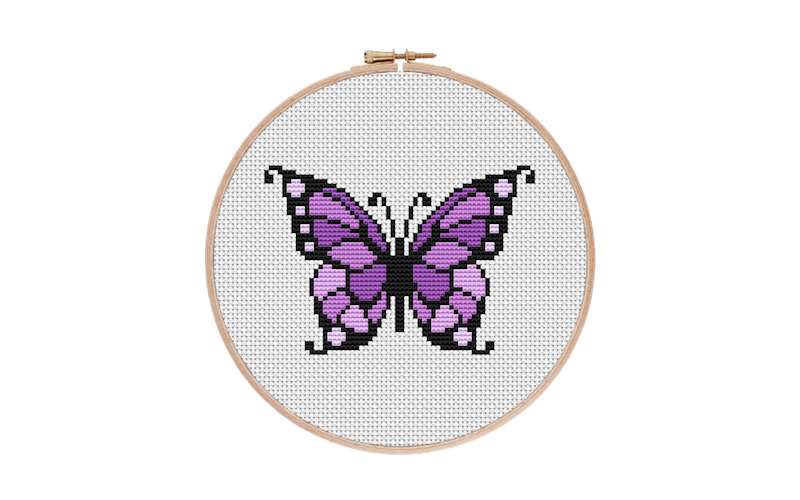 Purple Beautiful Butterfly Cross Stitch Pattern