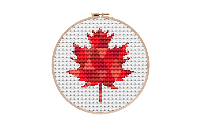 Red Geometric Maple Leaf Cross Stitch Pattern