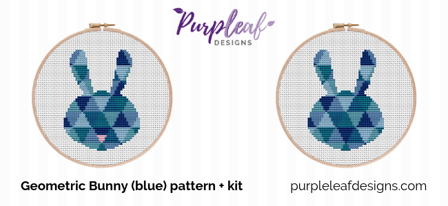 Blue Geometric Bunny Cross Stitch Pattern