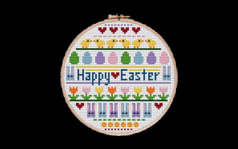 Modern Easter Sampler Cross Stitch Pattern