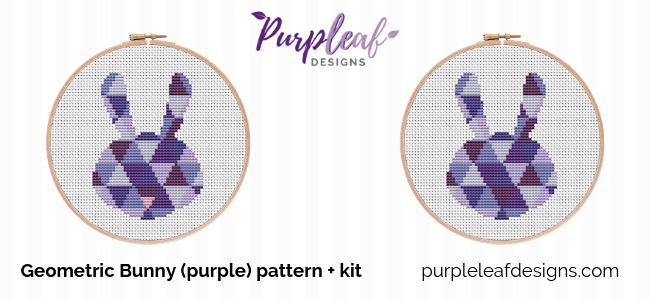 Purple Easter Bunny Cross Stitch Kit + Pattern