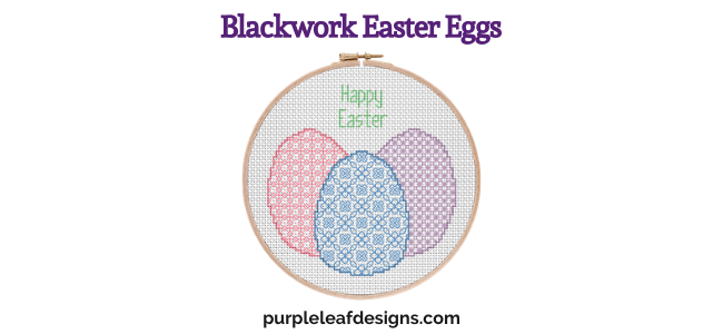 Blackwork Easter Eggs Pattern by Purple Leaf Designs