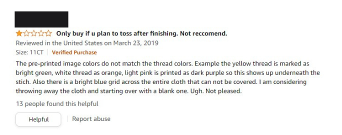 Harsh Amazon Review of Stamped Cross Stitch pattern